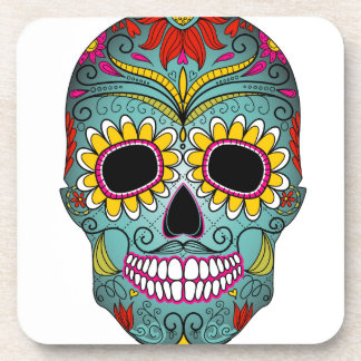 day-of-the-dead-colorful-skull-with-floral-ornamen beverage coaster
