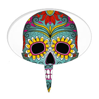 day-of-the-dead-colorful-skull-with-floral-ornamen cake topper