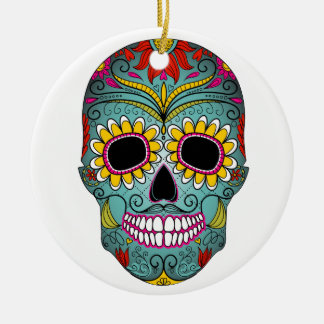day-of-the-dead-colorful-skull-with-floral-ornamen ceramic ornament
