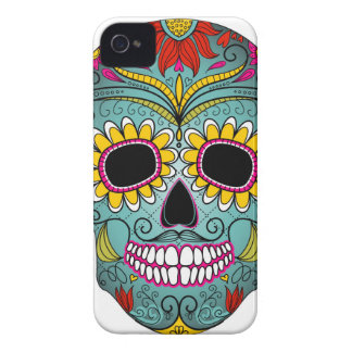 day-of-the-dead-colorful-skull-with-floral-ornamen iPhone 4 cover