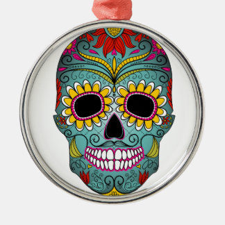 day-of-the-dead-colorful-skull-with-floral-ornamen metal ornament