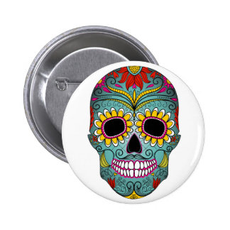 day-of-the-dead-colorful-skull-with-floral-ornamen pinback button