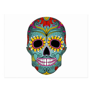 day-of-the-dead-colorful-skull-with-floral-ornamen postcard