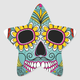 day-of-the-dead-colorful-skull-with-floral-ornamen star sticker
