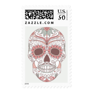 Day Of The Dead Colorful Skull With Floral Postage