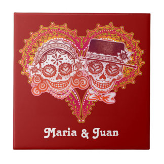 Day of the Dead Couple Ceramic Tile - Customize it