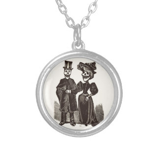 Day of the Dead Couple Round Pendant Necklace