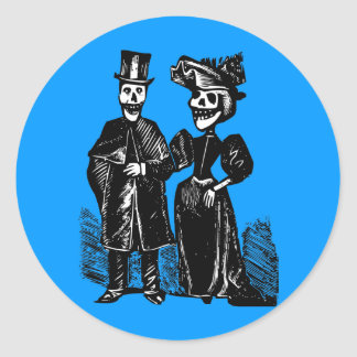 Day of the Dead Couple Classic Round Sticker