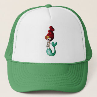 Day of The Dead Cute Mermaid Gal Trucker Hat