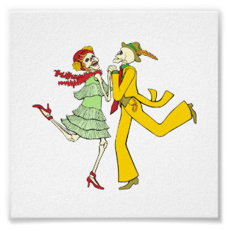 Day of the Dead Dancing Skeletons Couple Posters