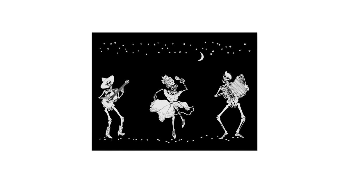Day Of The Dead Dancing Skeletons Poster Zazzle Com