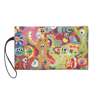 Day of the Dead Dancing Skeletons Wristlet Bag