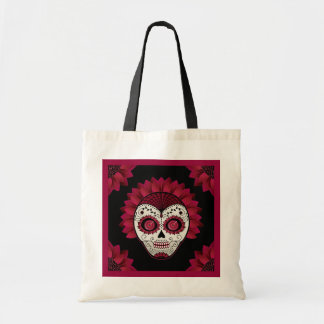 Day of the Dead decorative spiderweb flower skull Budget Tote Bag