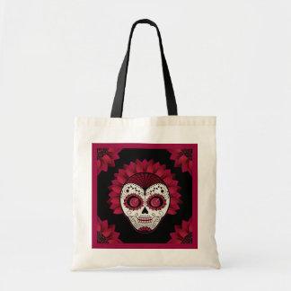 Day of the Dead decorative spiderweb flower skull Tote Bag