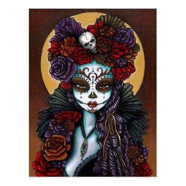 mykajelina Day of the Dead Dia De Muertos Sugar Skull Dalia Postcard