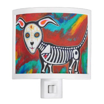 Halloween Themed Day of the Dead Dog Night Light
