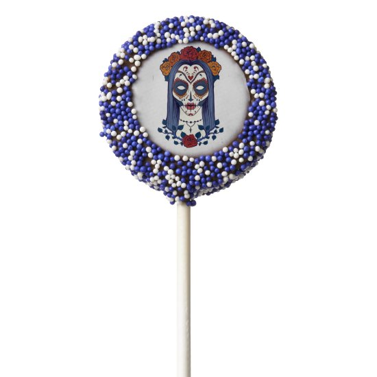 Day of the Dead, Festive Sugar Skull Bride Chocolate Dipped Oreo Pop