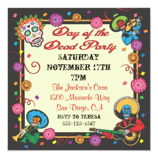 Day of the Dead Fiesta Party Invitations