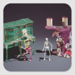 Day of the Dead figures as musicians Square Sticker