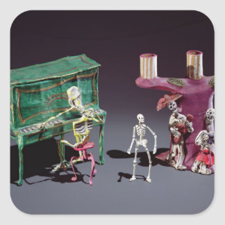 Day of the Dead figures as musicians Sticker