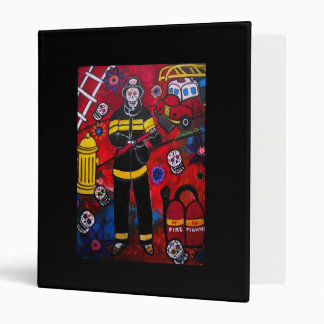 DAY OF THE DEAD FIREMAN 3 RING BINDERS