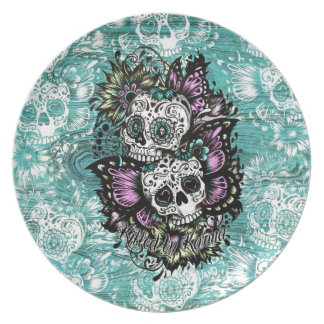 Day of the Dead floral butterfly skulls. Dinner Plate