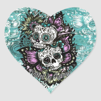 Day of the Dead floral butterfly skulls. Heart Sticker