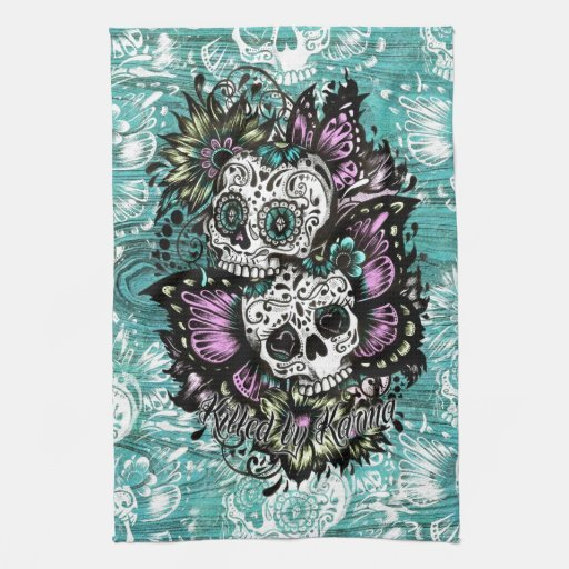 Day Of The Dead Floral Butterfly Skulls Towels Zazzle