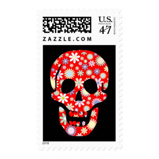 Day of the Dead Floral Read Skull Stamp