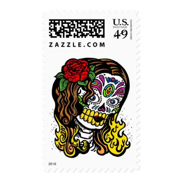 Halloween Themed Day of the Dead Floral Rose Skull Stamp