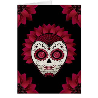 Day of the Dead floral skull Card