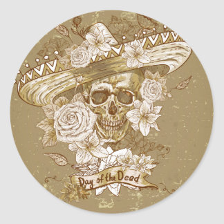 Day of the Dead Floral Sugar Skull Classic Round Sticker