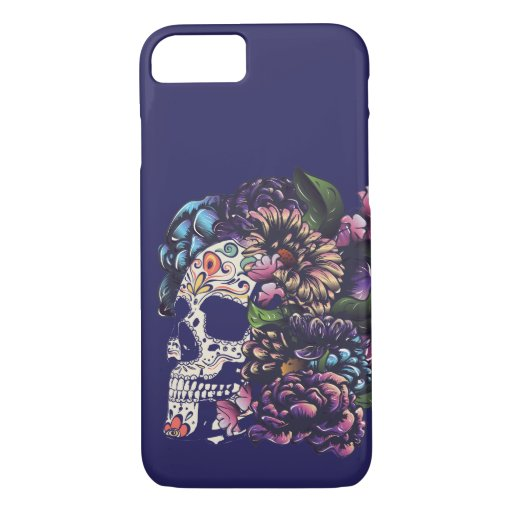 Day of the dead floral sugar skull with flowers iPhone 8/7 case