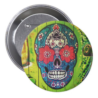 Day of the Dead Funky Blue and Green Sugar Skull Pinback Button