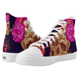 day of the dead garden rose lace up sneakers