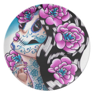 Day of the Dead Girl: A Moment of Silence Dinner Plate