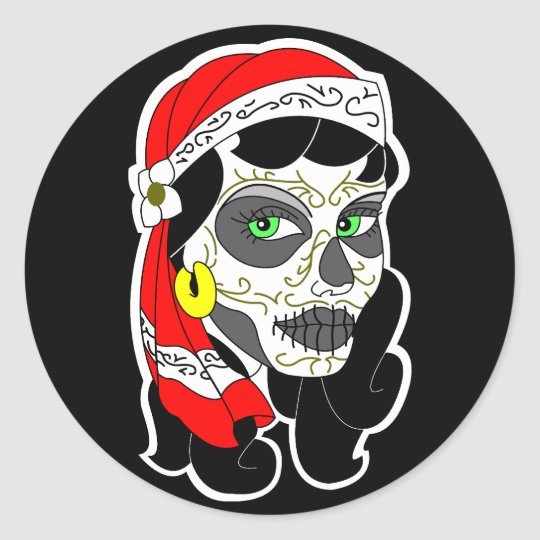 Day of the dead girl classic round sticker