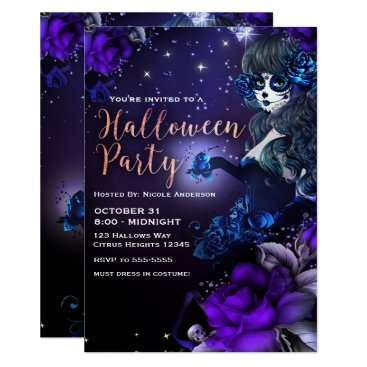 Halloween Themed Day of the Dead Girl Purple Blue Halloween Party Card