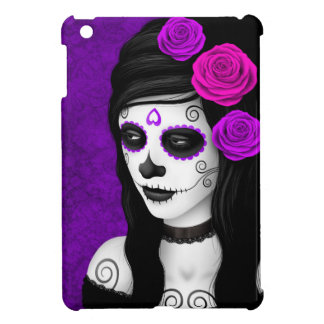 Day of the Dead Girl with Purple Roses iPad Mini Cover
