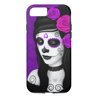 Day of the Dead Girl with Purple Roses iPhone 8/7 Case