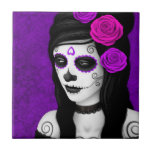 Day of the Dead Girl with Purple Roses Tiles