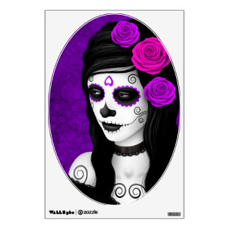Day of the Dead Girl with Purple Roses Wall Stickers