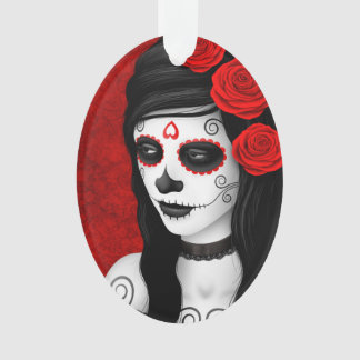 Day of the Dead Girl with Red Roses