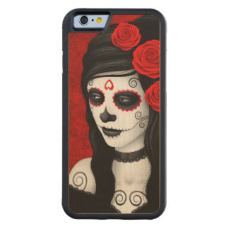 Day of the Dead Girl with Red Roses Carved Maple iPhone 6 Bumper Case