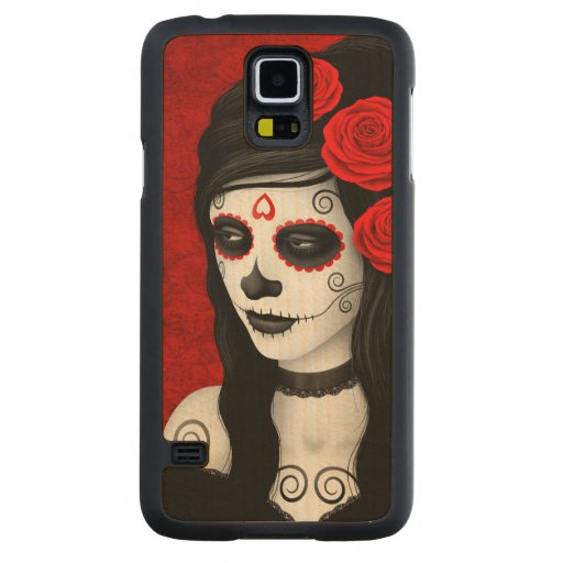 Day of the Dead Girl with Red Roses Carved® Maple Galaxy S5 Slim Case