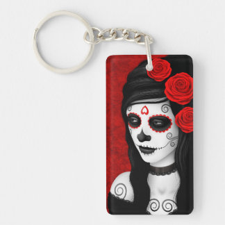 Day of the Dead Girl with Red Roses Rectangular Acrylic Key Chain