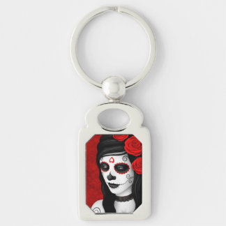 Day of the Dead Girl with Red Roses Keychains