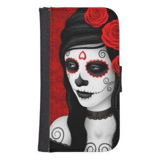 Day of the Dead Girl with Red Roses Wallet Phone Case For Samsung Galaxy S4