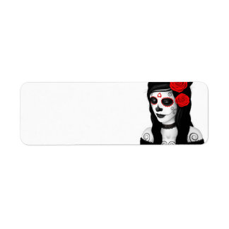 Day of the Dead Girl with Red Roses White Return Address Label