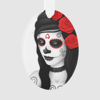 Day of the Dead Girl with Roses White